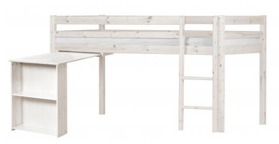 Flexa Basic halvhøj seng med lækkert skrivebord og smarte hylder