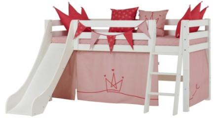 Hoppekids halvhøj børneseng med rutsjebane – Miljøvenlig seng med prinsessetema