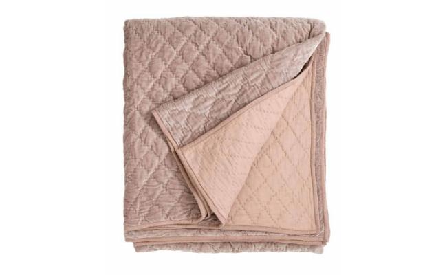 Nordal sengetaeppe velour – stovet rosa – 220 x 270 cm